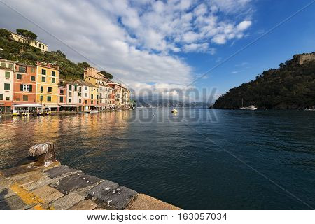 The bay and port of Portofino - Ancient fishing village with multicolored houses. Genova Liguria Italy
