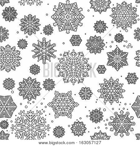 Black mono color seamless pattern for coloring pages design with snowflakes. Vector illustration