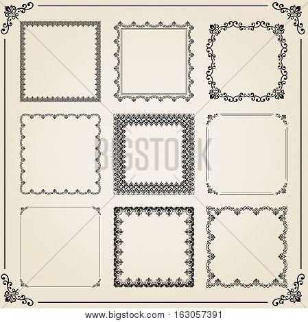 Vintage set of elements. Different vector square elements for decoration and design frames, cards, menus, backgrounds and monograms. Classic patterns. Set of vintage patterns