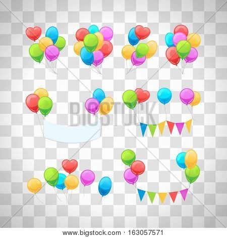 Vector glossy balloons set isolated on transparent background for party invitations decoration