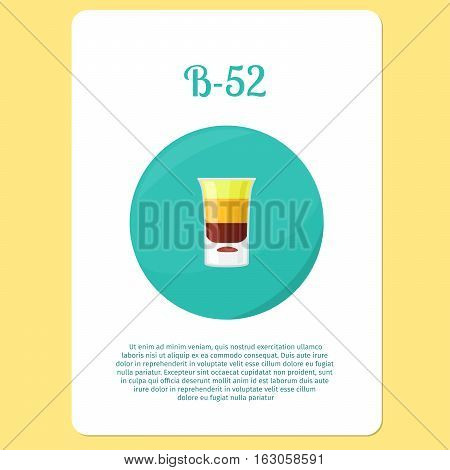B-52 cocktail menu item or sticker. Party drink in circle icon. Vector illustration