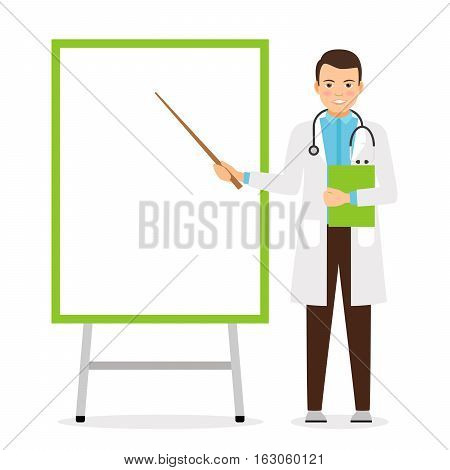 Doctor with flip chart white board, vector illustration