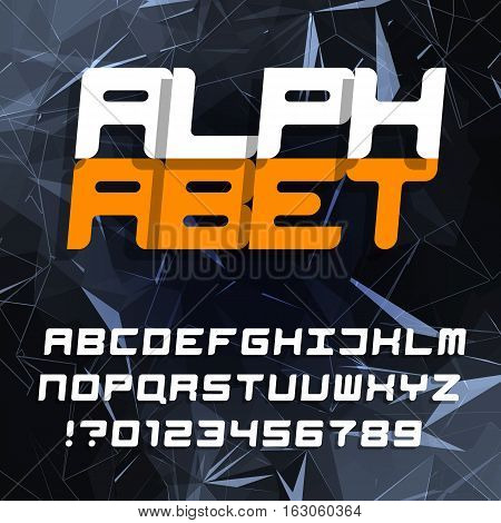 Decorative alphabet typeface. Oblique type letters and numbers on a polygonal background. Vector font. Typography for headlines, posters, etc.
