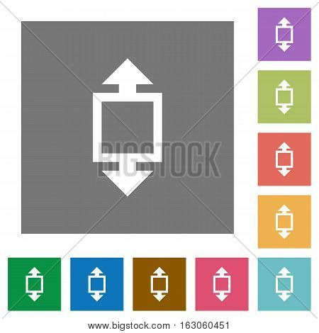 Height tool flat icons on simple color square backgrounds