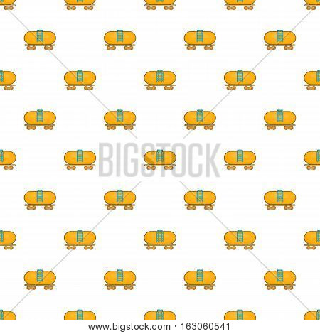 Tanker trailer on train pattern. Cartoon illustration of tanker trailer on train vector pattern for web