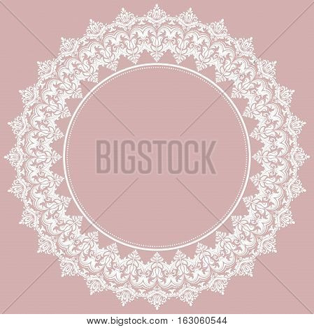 Oriental vector pattern with arabesques and floral white elements. Traditional classic ornament. Vintage pattern with arabesques