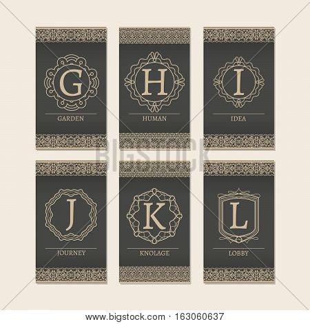 Cards set with monogram logos and borders. Letters G-L vector illustration