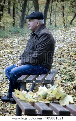 elderly man sitting alone on a park bench. autumn