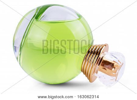 Luxurious green tea perfume. Feminine beauty concept / studio photography of perfume bottle - isolated on white background. Close-up.