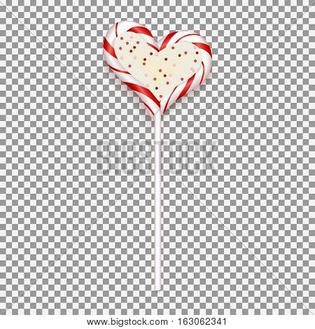 Realistic candy isolated on transparent backdrop. Sweet in the form of heart for Valentine's Day. Vector illustration.