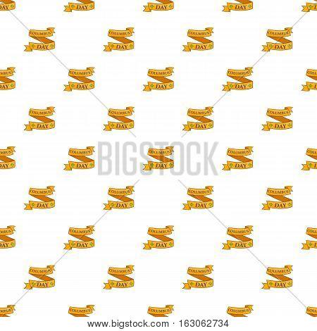 Ribbon Columbus day pattern. Cartoon illustration of ribbon Columbus day vector pattern for web