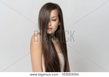 Girl Covered Her Face With Hair