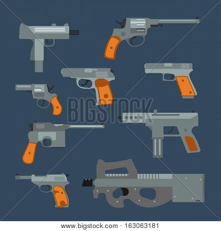 Weapons vector handguns collection. Pistols, submachine guns icons illustration.