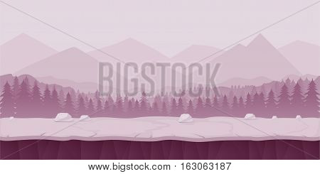 Fantasy cartoon landscape, seamless nature background for game design, layered vector illustration for parallax effect