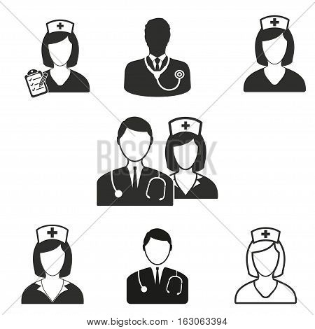 Nurse vector icons set. Black illustration isolated on white background for graphic and web design.
