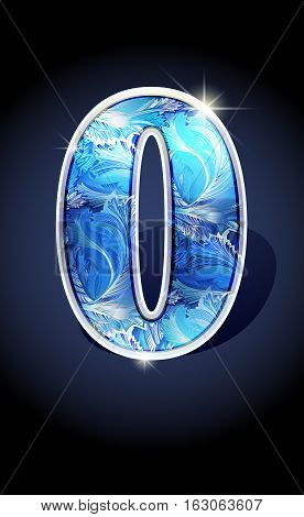 Blue frost winter number zero or null on dark background isolated. Blue frost illustration number 1 zero or null for winter 2017 date design. Number 1 zero or null icon. Vector illustration stock vector.
