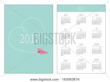 Pocket calendar 2017 year. Week starts Sunday. Flat design Vertical orientation Template. Flying paper plane. Big dash heart in the sky. Love card. Vector illustration