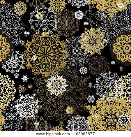 Winter golden black seamless pattern with gold and white snowflakes and black background. Trend golden design. Template for poster, card, invitation, brochure, flyer. Vector illustration stock vector.