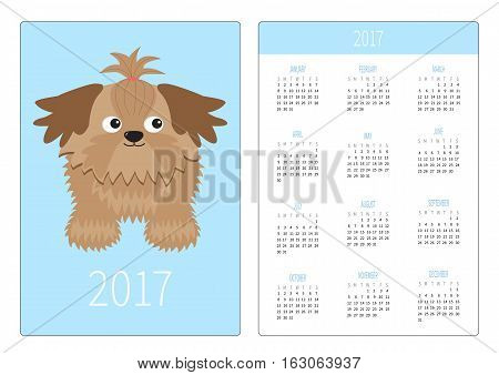 Pocket calendar 2017 year. Week starts Sunday. Flat design Vertical orientation Template. Little glamour tan Shih Tzu dog. Isolated. Blue background. Vector illustration