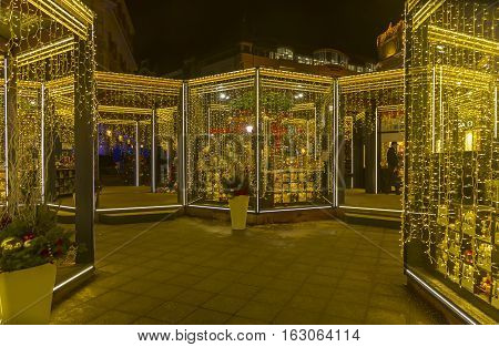 MOSCOW RUSSIA - DECEMBER 20 2016: Fair stalls in the center of Moscow. Annual Christmas Fair. Moscow Russia December 2016.