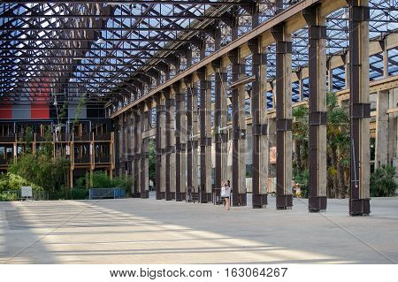 France, Nantes - July 26, 2014: Old Industrial Part Of The City Of Nantes. Gallery Machines.