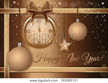 New Year's design. Beige festive background with a gold antique clock, Christmas decorations and congratulatory inscription - Happy New Year. Greeting card. Vector illustration