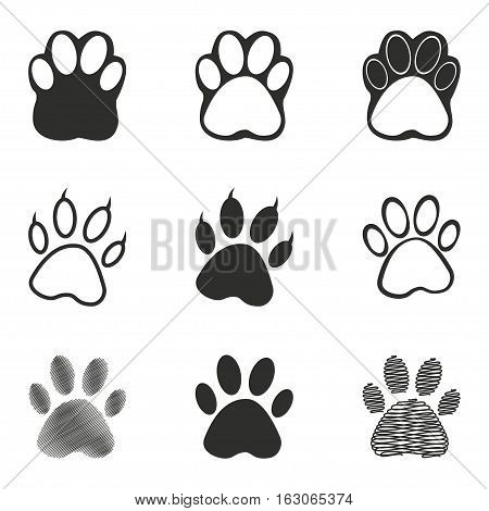 Paw vector icons set. Black illustration isolated on white background for graphic and web design.