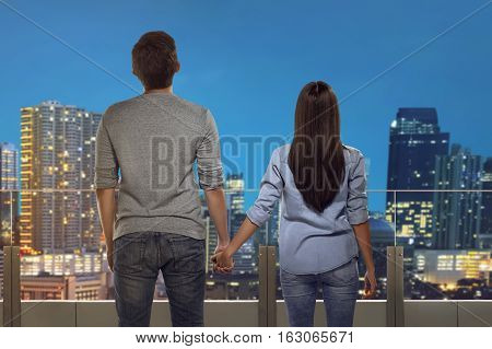 Lover Young Couple Holding Hands Each Other Looking Cityscape