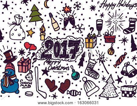 Hand-Drawn Christmas Sketchy Notebook Doodles- Illustration Design Elements on Lined Sketchbook Paper Background.