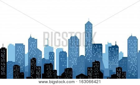 A blue city landscape of skyscraper buildings