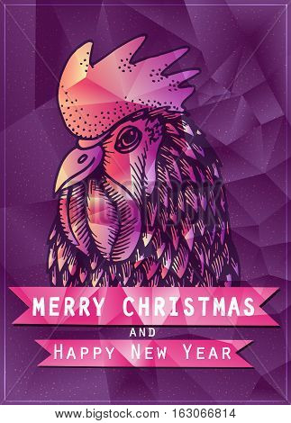 Rooster Year design. for wallpaper, banner, poster, fabric, gift wrap, greeting or invitation card