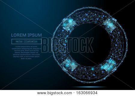 Abstract image of a lifebuoy in the form of a starry sky or space, consisting of points, lines, and shapes in the form of planets, stars and the universe. Business vector wireframe concept