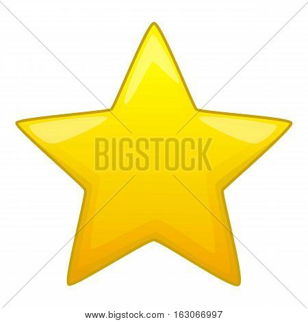 Five pointed yellow star icon. Cartoon illustration of five pointed yellow star vector icon for web design