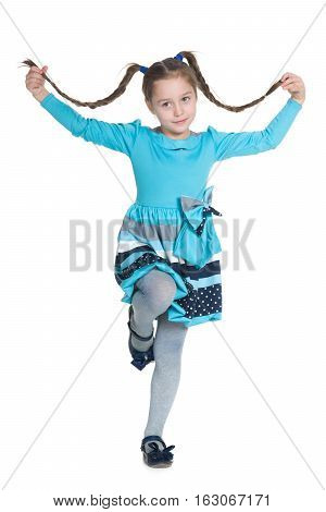 Active Little Girl With Pigtails