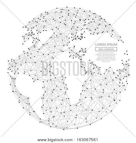 Abstract polygonal space low poly planet Earth with connecting dots and lines. Wireframe Earth connection structure. Futuristic Vector Illustration.