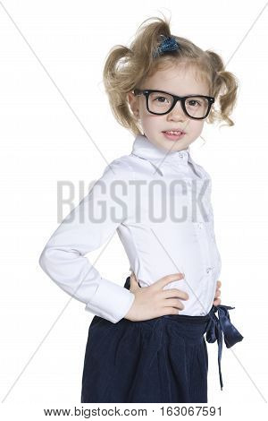 Clever Little Girl In Glasses