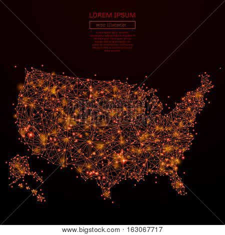 Abstract mash line and point USA map in flames style on dark background with an inscription. Map of a starry sky or space, consisting of stars and the universe. Vector illustration.