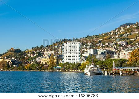 View of Montreux lake waterfront in Switzerland