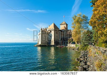 View Of Chillon Castle In Montreux, Switzerland