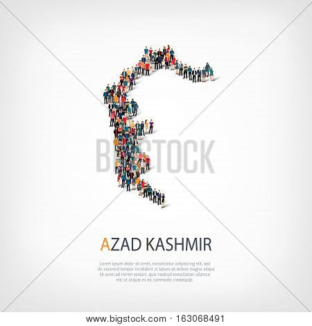 Isometric set of styles, people, map of Azad Kashmir, country, web infographics concept of crowded space, flat 3d. Crowd point group forming a predetermined shape. Creative people.  illustration. Photo .3D illustration. White background . Isolated.