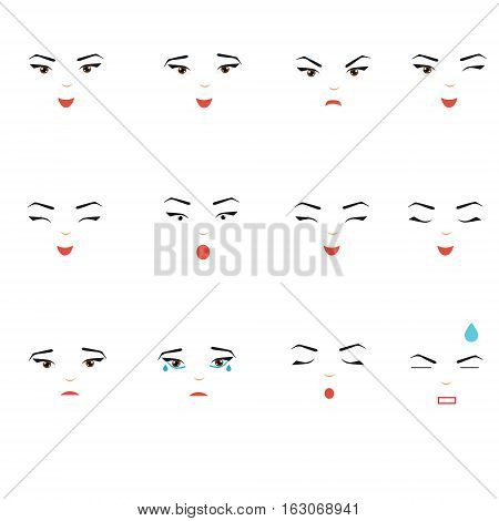 Girl face expressions. Woman female emoji set isolated design elements symbols. Sad happy angry and other emotions