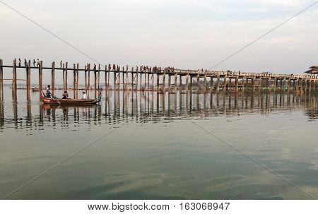 View Of The Ubein Bridge In Mandalay