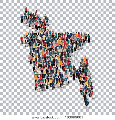 Isometric set of styles, people, map of Bangladesh , country, web infographics concept of crowded space, flat 3d. Crowd point group forming a predetermined shape. Creative people.  illustration. Photo .3D illustration. Transparent background . Isolated.