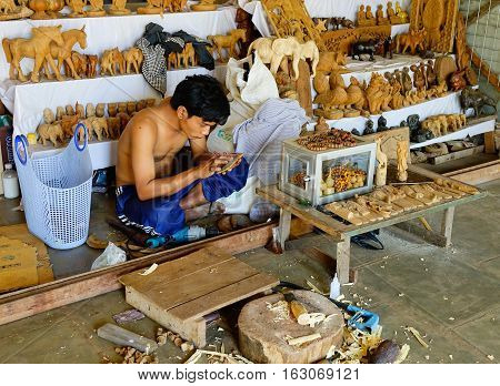 Craft Man Making Souvenirs In Bagan, Myanmar