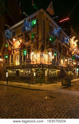 Dublin, Ireland - 25th Dec, 2016: The Oliver St. John Gogarty Pub on Temple Bar in the city centre, Dublin City, Republic of Ireland