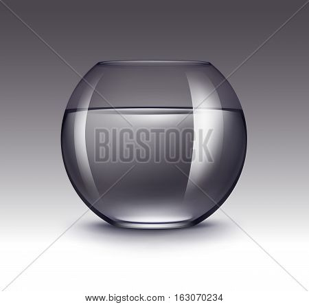 Vector Realistic Violet Transparent Shiny Glass Fishbowl Aquarium with Water without Fish Isolated on Dark Background