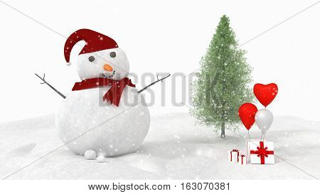 3D Rendering : merry christmas snow man doll and christmas tree on perspective snow scape