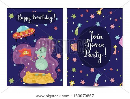 Happy birthday cartoon greeting card on space theme. Cute alien standing with flag on planet surface, flying saucer in cosmos on blue background vector. Bright invitation on childrens costumed party