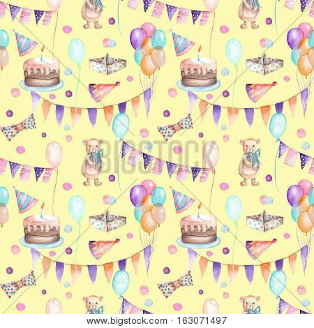Seamless party pattern with garland of the flags, confetti, cake, air balloons, bows and gifts; hand painted in watercolor on a yellow background