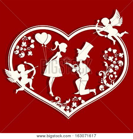 The design of the silhouette of a heart, inside loving guy with a bouquet of flowers, ring, and girl